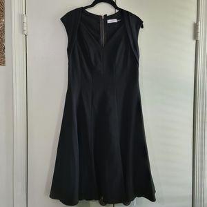 Calvin Klein Black Fit & Flare Dress w/ Cap Sleeve